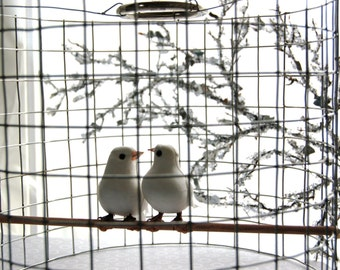 lovey dovey birdcage chandelier - made to order