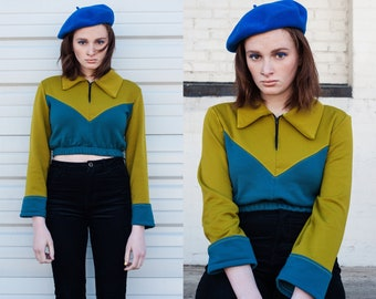 Color Block Ski Inspired Pullover Fleece Sweater XS S M L XL XXL