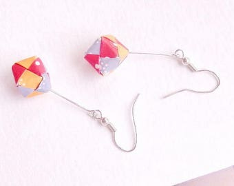 Red, blue and yellow origami cube earrings