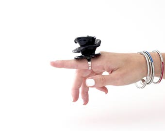 Big Ceramic Black Rose Ring   - statement ring, large ring, oversized ring, handmade ring by StudioLeanne, cocktail ring, statement jewelry