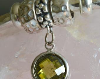 Sterling Silver Peridot Green Cubic Zirconia European Charm Dangle Charm - Fits all European Charm Bracelets