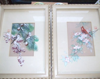 Pair of Original-John-Cheng-Watercolor-on-Silk-of-Birds Signed Painting