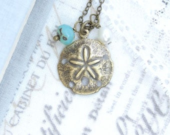 Sand Dollar Charm Necklace Nautical Necklace Beach Charm Necklace Sand Dollar Jewelry Nautical Gift
