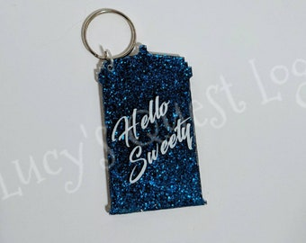 Doctor Who Tardis Shaped Glitter Keychain- River Song- Hello Sweetie