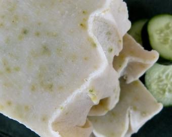 Cucumber, Homemade Soap, Vegan, Naural, 4.5-5 oz., Cucumber Peel & Aloe Natural Vegan and Handcrafted