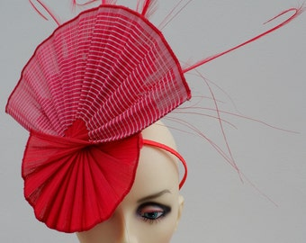 Red  pleated  fascinator with scarlet red feather detail