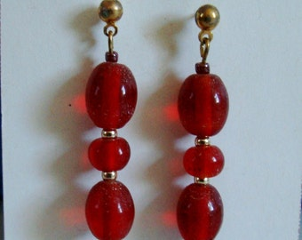 BRIGHT RED glass beads drop 1 1/2 inch from post