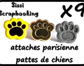 LOT 9 BRADS SCRAPBOOKING 15mm animal dog paws