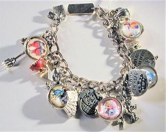 Alice In Wonderland Inspired Charm Bracelet Sterling Bracelet OOAK