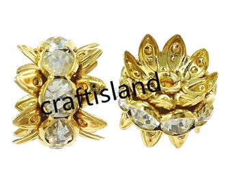 10pc gold finish rhinestone spacer/beads-9747