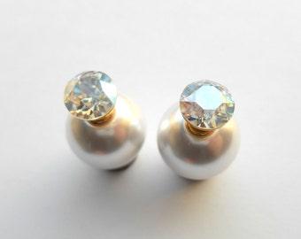 Double sided earrings, White double pearl earrings,  Front back earrings