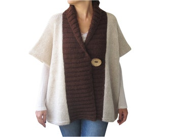 Beige - Brown Mohair Cardigan with Big Coconut Button by Afra Plus Size Over Size