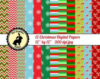 80% OFF SALE Christmas papers Scrapbooking papers Xmas Christmas printable paper Christmas digital paper pack Christmas background pack RG5