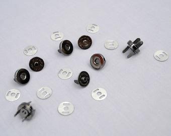 40 Gunmetal 14mm Metal Magnetic Snaps Dark Metal