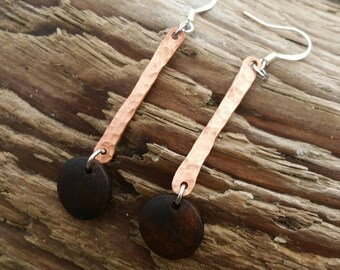Cute copper and wood dangle earrings