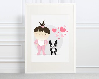 Baby and Boston Terrier - nursery decorations - baby room ideas - dog nursery art - cute baby art - dog art - dog lover gift - dog lover