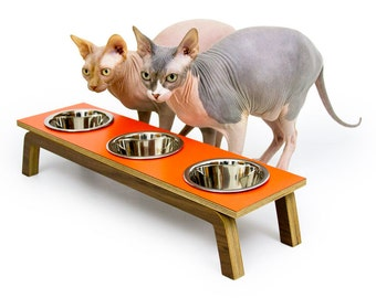 """Mid Century Modern Pet Feeder   Elevated SMALL Cat & Dog Bowl   MCM Walnut Pet Dish   16 oz Stainless Bowls   """"Triple Diner"""""""