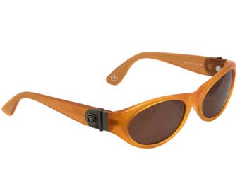 Original Versace sunglasses 80s, made in Italy. True vintage sunglasses for women, orange frame with Versace signature, vintage eyewear