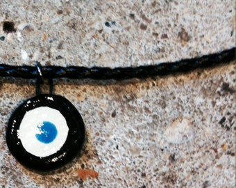 ceramic, evil eye pendant necklace