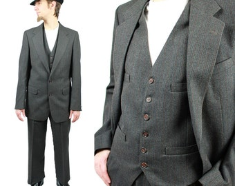 Vintage 3 Three Piece Suit 38L 33x32 Pinstripe Blazer Vest Pants Wool Dark Gray Free US Shipping