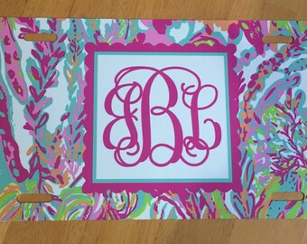 Lilly Pulitzer License plate monogram car tag personalized Lilly Pulitzer car tag