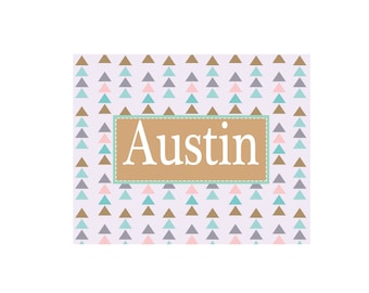 Personalized Tribal Triangles White Wall Canvas