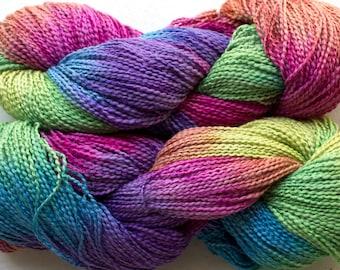 Dove, cott/ray stripe, hand dyed yarn,  300 yds - Holi