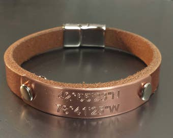 FREE SHIPPING-Engraved Mens Bracelet, Copper Bracelet, Personalized Bracelet, Mens Leather Bracelet, Bracelet For Men, Dad's Gift,