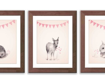 Baby Girl Nursery Art - Woodland Nursery Art - Rabbit, Hedgehog and Baby Deer Prints - Pink and Gray Woodland Art - S009B