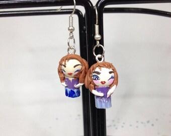 These earrings playful girls in purple dress