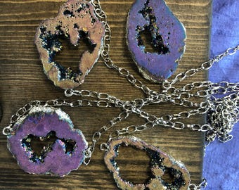 READY TO SHIP rainbow purple druzy geode necklace silver chain