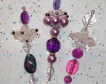 Beaded Dangle Tree Ornaments, Pink and Purple , Set of Three (18)