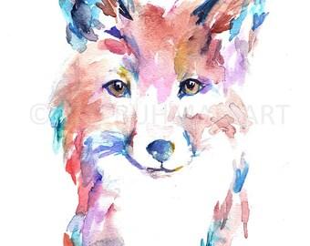 Fox Watercolor Print, Watercolor Painting of Fox, Print of Fox, Fox Painting, Fox Illustration, Baby Fox Art, Nursery Art, Woodland Art