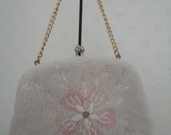 Vintage White Beaded Evening Bag/Purse by Le Soir with Pink & White Flower Design - 1960s/1970s - Ideal Bridal/Cruise/Prom/Races