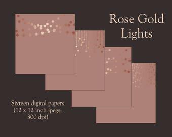 Rose gold lights, digital paper, rose gold, metallic lights, blush, string lights, scrapbook paper, rose gold bokeh, fairy lights, DOWNLOAD