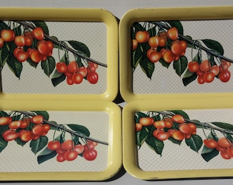 SALE 4 Mid Century Vintage Trays Cherries Yellow Metal Serving Tray Dinner Party Barbeque Shabby Chic Cottage Style