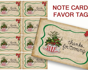 Christmas Tea Thank You Cards, Printable tea Party Cards, Holiday Tea cup, Digital Tea Party Cards, red and green, party supplies, Thank you