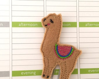 Llama planner clip ~ llama bookmark ~ planner accessories ~ llama feltie ~ llama felt paperclip ~ planner paperclip