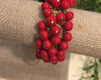 Cherry Red beaded brass stretch bracelet