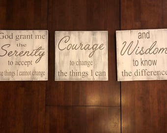 Serenity prayer sign, God grant me the serenity, courage to change, wisdom to know the difference, wood sign, pallet sign, home decor