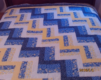 Queen Blue and Yellow Rail Fence Quilt