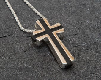 Silver Cross.  Silver plated brass.  3D printed.