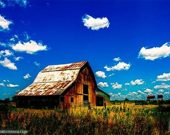 Digital Print: Barn Photography Iconic Rustic Barn that resides on a SE Kansas farm blue sky white clouds in vivid color,Iconic Red Barn USA