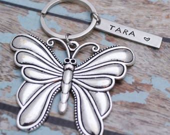 Personalized Butterfly Keychain, Hand Stamped Inspirational, Gift for Her, Inspirational Key chain, Butterfly Key Chain, Graduation gift