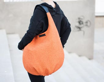 orange packable hobo bag, xl shoulder bag, comfortable bag, orange long hobo bag, slouch large bag, handle of genuine black leather, big bag