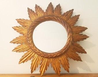 Mirror Sun antique wood/antique wood sunburst Mirror