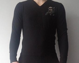 LA MARTINA Wool Mens Thin Sweater size M Black