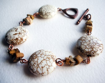 Stone & Metal Handmade Bracelet with White Magnesite and Brown Picture Jasper