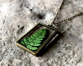 Green Plant Necklace / Fern Necklace / Plant Locket / Fern Leaf / Glass Locket / Square Locket / Fern / Boho Jewelry / Necklace/ Wanderlust