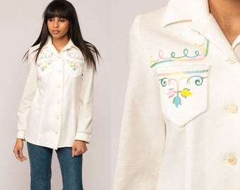 EMBROIDERED Blouse Floral Top Button Up Shirt 70s Disco Hippie Boho Off White Vintage 1970s Bohemian Long Sleeve Small